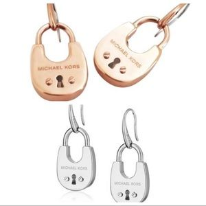 MICHAEL KORS CITYSCAPE PADLOCK DROP EARRINGS